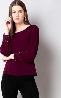 WINE PEARL BEADED SLEEVE TOP